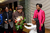 Minister Maite Nkoana-Mashabane receives the President of Liberia, Ms Ellen Johnson Sirleaf, at the OR Tambo International Airport State Protocol Lounge. Amohetswe Motholo (5) hands over flowers to the President, and Minister Bathabile Dlamini is also present, Johannesburg, South Africa, 11 August 2017.