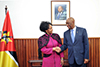 Minister Maite Nkoana-Mashabane, and the Minister for Foreign Affairs and Co-operation of Mozambique, Mr Oldemiro Julio Marques Baloi, in a Bilateral Meeting, ahead of the Ministerial Session of the South Africa - Mozambique Bi-National Commission, Maputo, Mozambique, 24 August 2017.