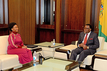 Special Envoy of the President of South Africa, Minister Maite Nkoana-Mashabane, pays a Courtesy Call on the President of Namibia, Mr Hage Geingob, Windhoek, Namibia, 18 May 2017.