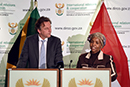 Minister Ms Maite Nkoana-Mashabane with Mr Bert Koenders, Minister of Foreign Affairs of the Netherlands, during a Press Conference, Pretoria, South Africa, 11 April 2017.