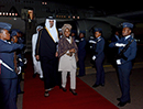 The Emir of Qatar, His Highness Sheikh Tamim bin Hamad Al-Thani, arrives at Waterkloof Air Force Base. He is received by Minsiter Maite Nkoana-Mashabane, Pretoria, South Africa, 11 April 2017.