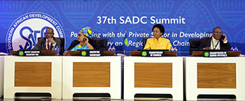 Minister Maite Nkoana-Mashabane with SADC Executive Secretary, Dr Tax, during the SADC Ministerial Closing Session, O R Tambo Building, Pretoria, South Africa, 16 August 2017.