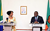 Minister Maite Nkoana-Mashabane with Minister Harry Kalaba of the Ministry of Foreign Affairs of the Republic of Zambia during a Media Briefing of the Second Session of the South Africa - Zambia Joint Commission for Cooperation (JCC). Taj-Pamodzi Hotel, Lusaka, Zambia, 11 October 2017.