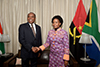 Minister Maite Nkoana-Mashabane and the Minister of External Relations from the Republic of Angola, Manuel Domingos Augusto, during his Working Visit, Pretoria, South Africa, 9 November 2017.