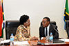 Minister Maite Nkoana-Mashabane with the Foreign Minister of Tanzania, Dr Augustine P. Mahiga, at the South Africa - Tanzania Ministerial Session, Dar es Salaam, Tanzania, 10 May 2017.