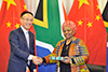 Deputy Minister Nomaindiya Mfeketo meets with the Assistant Minister of Foreign Affairs of China, Mr Chen Xiaodong, Pretoria, South Africa, 22 August 2017.