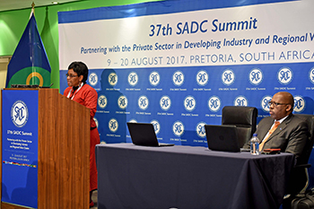 SADC Press Conferences - Acting Director of Gender, Social and Human Development, Ms Lomthandazo Mavimbela, and Acting Director Infrastructure, Mr Phera Ramoeli, O R Tambo Building, Pretoria, South Africa, 16 August 2017.
