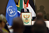 Advisor to the President of Palestine on Foreign and International Relations, Dr Nabeel Shaath, speaks at the United Nations International Day of Solidarity with the Palestinian People Seminar: The Year of O R Tambo and The Palestinian Struggle under Apartheid Rule, hosted at the OR Tambo Building, Department of International Relations and Cooperation, Pretoria, South Africa, 29 November 2017.