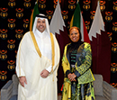 The Minister of Small Business Development South Africa, Ms Lindiwe Zulu, with Minister of Economy & Commerce of Qatar, Sheikh Ahmed bin Jassim bin Mohammed Al-Thani, Pretoria, South Africa, 12 April 2017.