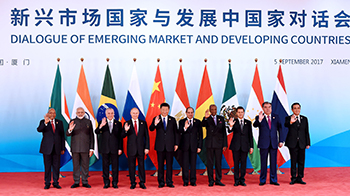 President Jacob Zuma with leaders of BRICS and other leaders before BRICS Emerging Market and Developing Countries Dialogue, Xiamen International Conference and Exhibition Centre, Xiamen, People's Republic of China, 5 September 2017.