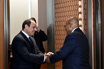 Bilateral Meeting between President Jacob Zuma and President Abdel Fattah el-Sisi of the Arab Republic of Egypt on the sidelines BRICS Emerging Market and Developing Countries Dialogue, Xiamen International Conference and Exhibition Centre, Xiamen, People's Republic of China, 5 September 2017.
