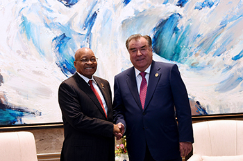Bilateral Meeting between President Jacob Zuma and President Emomali Rahman of the Republic of Tajikistan on the sidelines of the BRICS Emerging Market and Developing Countries Dialogue, Xiamen International Conference and Exhibition Centre, Xiamen, People's Republic of China, 5 September 2017.